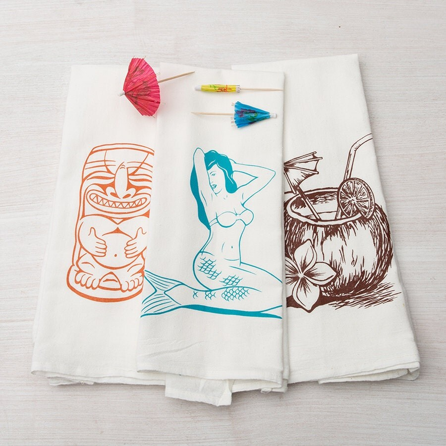 Kitchen Towels: Kitchen Towel Set Tropical Kitchen Towels Tiki Flour