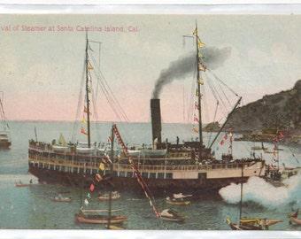 "California, Vintage Postcard, ""Arrival of Steamer at Santa Catalina Island, Cal.,""  1910s,  #564-2."