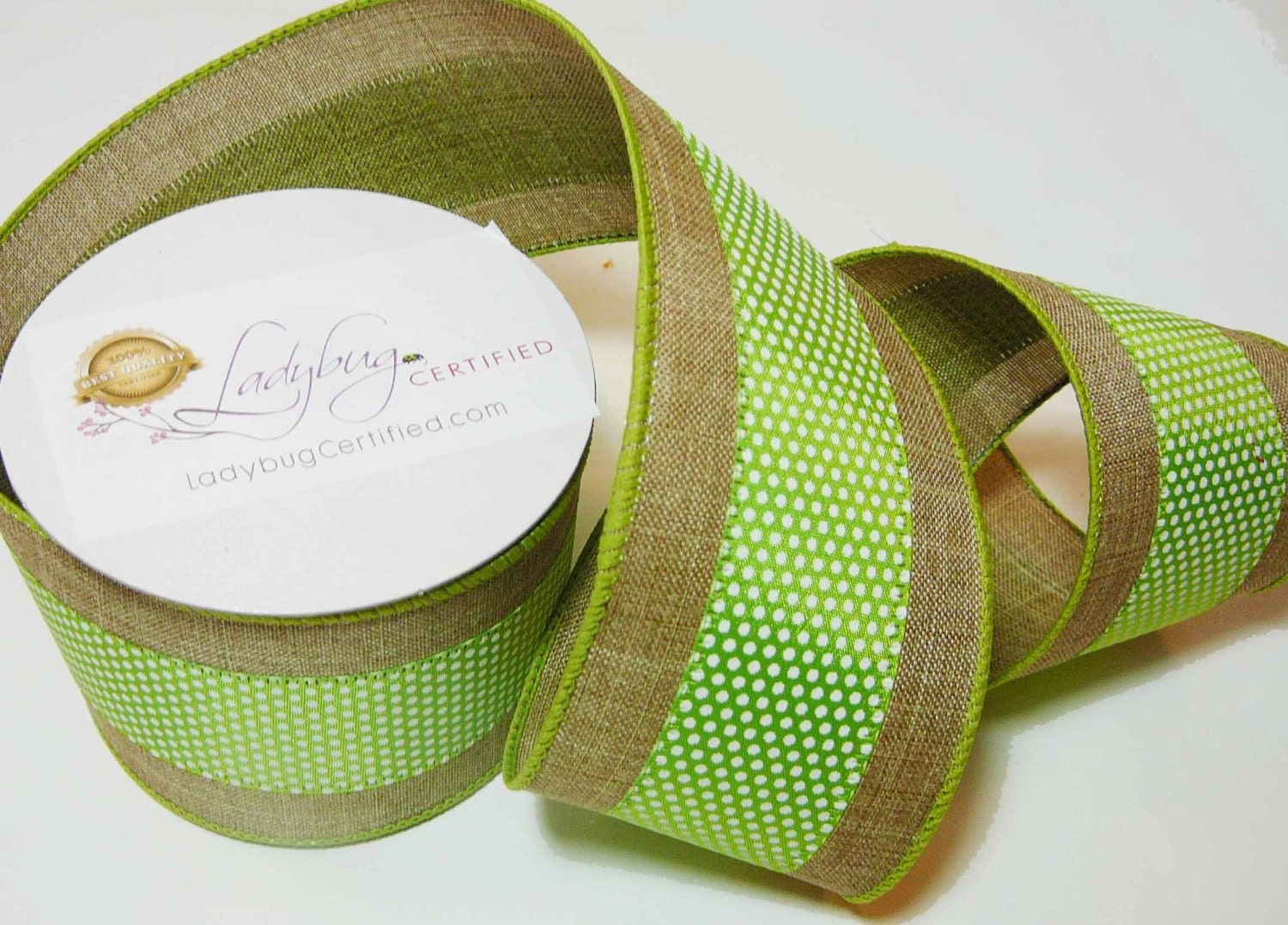 Burlap wired ribbon white dots on green stripe by for Green burlap ribbon