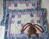Quilted Mug Rugs(2) Pastels and Chocolate Bunny