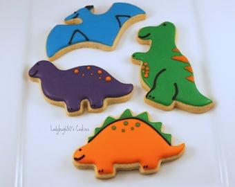 12 Dinosaur cookies, handmade & iced