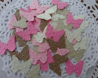100 Butterfly Dot Embossed Die Cuts - Confetti - Scrapbooking Embellishments - Pink - Cream - Tan - Table Scatter - Cardmaking