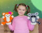 Flora the Fox and Ryo the Raccoon Puppets - PDF Crochet Pattern - Instant Download - Toy Animal Baby Child