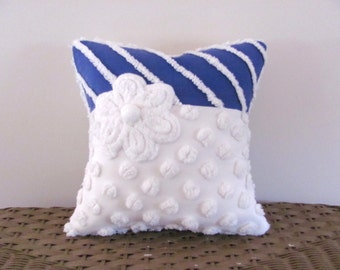 Blue pillow cover, OCEAN PEARLS  beach cottage blue cushion cover, nautical pillow cover, white chenille pillow case, blue porch pillow sham
