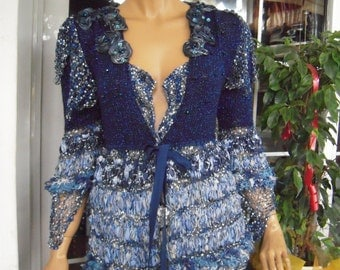 MADE TO ORDER  knitted embroidered fairy tale cardigan/dress in shades of blue size M/L gift idea for her spring summer trends by goldenyarn