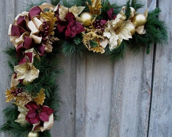 Christmas wreath holiday wreath elegant d cor by for Elegant christmas decorations for sale
