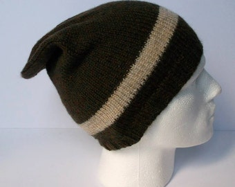 Hand knitted men's slouchy beanie hat. Adult or teenager. Brown with fawn / beige stripe.