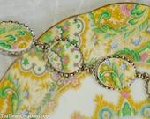 Broken China Bracelet Royal Albert Paisley Shawl in Silver