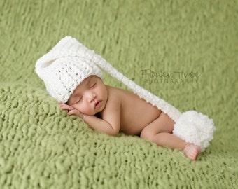 Newborn Elf Hat, Crochet Baby Hat, Newborn Photo Prop, Newborn Stocking Hat, Infant Pom Pom Hat, White Baby Hat, Long Tail Hat, Crochet Hat