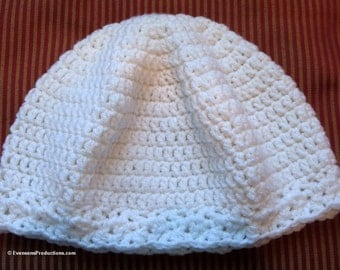 Chemo Cap - Cloche Hat - Pure White - One Size Fits Most - Item 4268