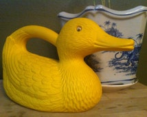 60s watering can, vintage plastic duck, mid-century watering can, old plastic watering can, old duck decor, sixties decor, old watering can
