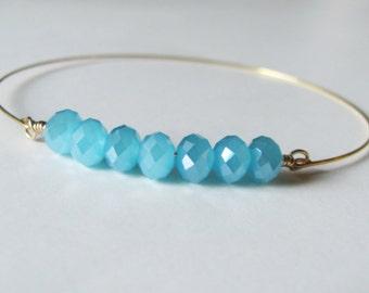 Blue Bracelet Blue Bangle Stacking Bracelet Beach Jewelry Gift For Her Bridesmaid Bracelet Bridal Party Gift Beach Bracelet Bohemian Jewelry