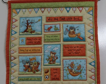 Quilted Wall Hanging Why God Made Little Boys