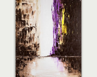 Original Abstract City Art, Urban Modern painting, Textured Painting, Home Decor,  Oil on canvas, Purple City Lights