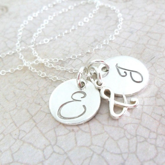 Initial Necklace | Two Initial Discs | Ampersand Jewelry | Ampersand Necklace | And Jewelry | And Sign Charm | Sterling Silver Pendants