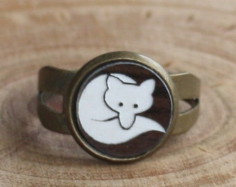 Fox Ring - Walnut and White Laser Engraved Curled Up Fox - adjustable ring, brass ring, woodland ring, woodland jewelry, laser ring