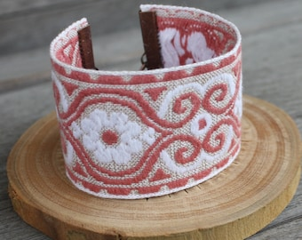 Embroidered Ribbon Cuff - Pink, white and tan - Copper Findings - Adjustable Bracelet, stacking bracelet, gypsy cuff, gypsy bracelet, boho