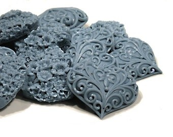 Six Victorian Soap Hearts in Slate Blue