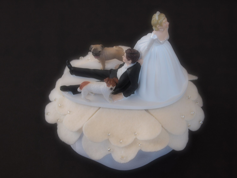 Wedding Cake Topper ical Bride and Groom Two Dog Pug Jack