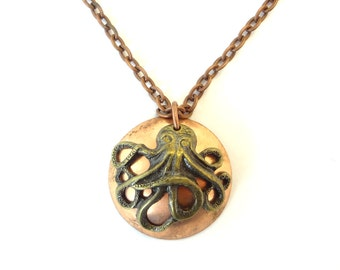 Steampunk Cthulhu Necklace Antiqued Brass Octopus On Domed Copper Disk