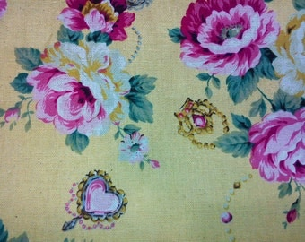 Rose and jewelry, soft yellow, fat quarter, pure cotton fabric