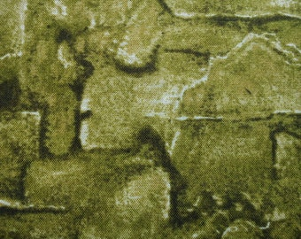 SALE Nature World Collection, green, almost half yard, pure cotton fabric