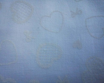 White heart and bow, on white, fat quarter, pure cotton fabric