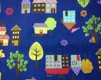 Small town, dark blue, fat quarter, pure cotton fabric