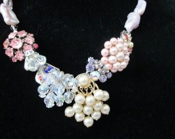 re-purpose vintage button pink rhinestone necklace pearls