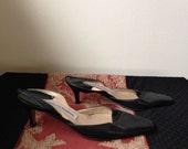 BLACK Leather MANOLO BLAHNIK Kitten Heel Slingbacks/Designer kitten heels/Made in Italy/Classic Black Heels - size 7