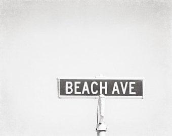 "Black and White Beach Photography, long beach island beach haven street sign light grey pale gray photo coastal neutral print, ""Beach Ave"""