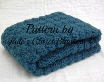 Crochet Baby Blanket Pattern, Instant Download, Digital PDF Pattern, Shell Stitch Cape Cod Blue Blanket, Crib size and Travel size included