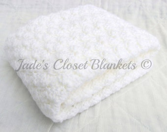 Crochet Baby Blanket, White Baby Blanket, Cloud White, Christening Blanket, crib size