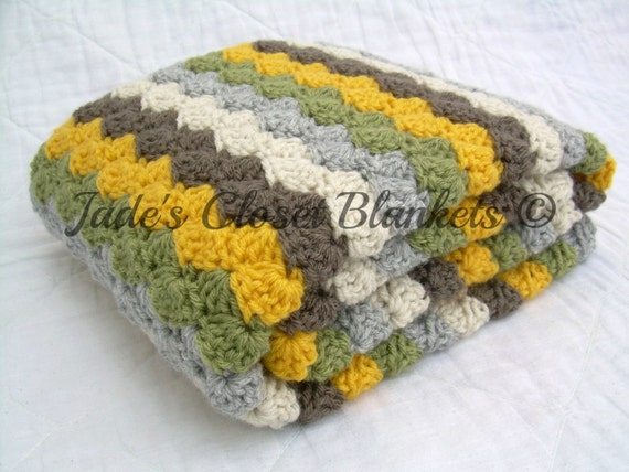 Crochet Baby Blanket, Baby Blanket, Neutral Colors, yellow, brown, grey, tan, and green, travel size