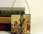 TEACHER & CHILDREN ORNAMENT Handmade Ornament from Vintage Upcycled Book Childrens Reader Holiday Decoration Christmas Ornament