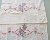 Vintage Purple Floral Embroidered Pair of Pillowcases