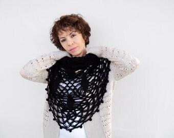 Winter Sale - Black Crochet Shawl - Black Triangle Wrap, Black Crochet Scarf, ready to ship