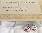 Played game ball MLB baseball St Louis Cardinals accessory sports fanatic hand crafted cuff links