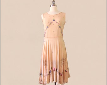 SALE -Coupon Code 1920's Peach Beaded Silk Crepe Dress with Rhinestones
