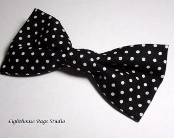 Bow Tie - Black with White Dots