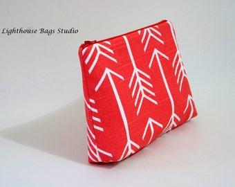 Large Wristlet Pouch w/ zipper - Arrow Coral