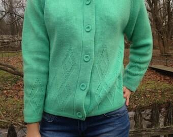 Ladies vintage Green 60s Mod Cardigan Sized small to medium petite