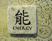 Energy... asian calligraphy words stone square magnet 2x2..gift favors