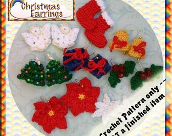 PDF Crochet Pattern Christmas Earrings