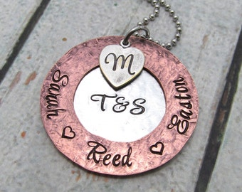 Personalized Necklace - Hand Stamped Jewelry - Mom Necklace - Personalized Jewelry - Mixed Metal Gift for Her - Rustic Family Necklace