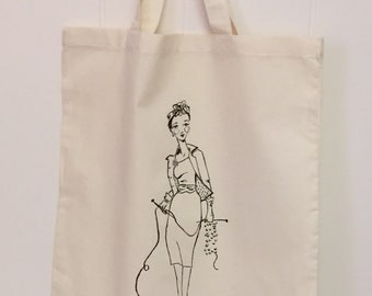 """Knitting girl tote with original painting one of a kind India ink and glitter """"glamour knitting"""" vintage fashion and knitting needles"""
