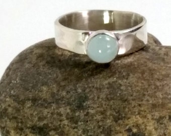 Aquamarine Ring 6mm, Silver Band, Birthstone March, Blue Ring, Personalized Ring, Chunky Silver Ring, Gift for Mother Her Wife Girlfriend