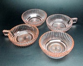 anchor hocking queen mary set of four pink depression glass bowls