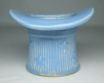 vintage pottery TOP HAT vase planter , blue color with stars shawnee