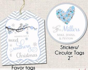 Sweet Southern Christmas Printable Gift Tags - Gift Tag - Personalized Christmas Gift Tags - Holiday Tags - Printable